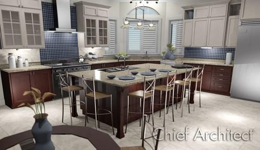 Open-concept kitchen rendering with blue tile backsplash and a large, oak island.