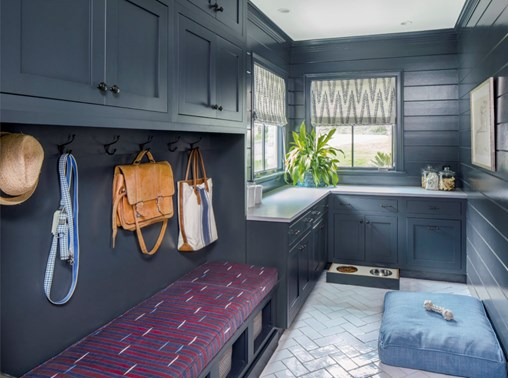 navy laundry room cabinets