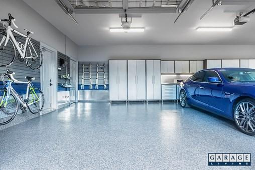 garage floors and coatings blue car in garage