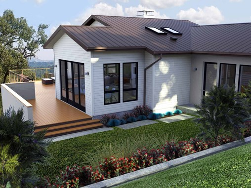 The backyard view of one of Rene's residential designs with white siding, a metal roof, and spacious deck for entertaining.