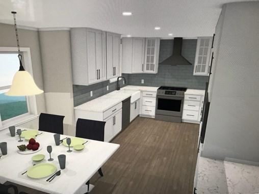 Farmhouse kitchen featuring white cabinets and grey subway tile backsplash.