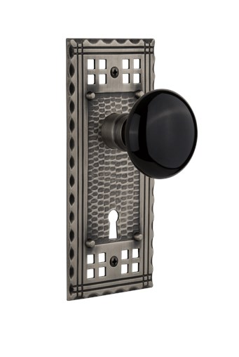 Craftsman Plate with Black Porcelain knob in Antique Pewter