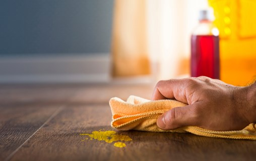 A person wiping a mess on a floor.