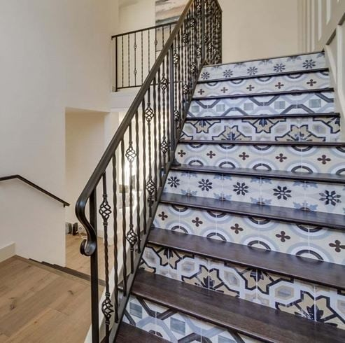 Cementine Posa 1,2,3,4 Porcelain Decos Patterned Staircase Tile from Arizona Tile