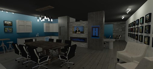 office rendering featuring a modern fire place, stone wall, and large conference table
