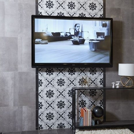 Cementine Black & White Porcelain Decos Digital Print Wall Tile From Arizona Tile