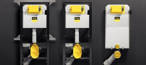 """The """"Prevista"""" pre-wall system, developed jointly with experienced industry experts, features a reduced number of installation components with which all commonly encountered installation situations can be covered. Left: the """"Prevista Dry"""" WC element in conjunction with the """"Dry Plus"""" mounting rail for flexible bathroom design. Centre: the likewise height-adjustable WC element for single wall mounting or mounting in the on-site support profile. Right: the """"Prevista Pure"""" block for wet construction. (Photo: Viega)"""