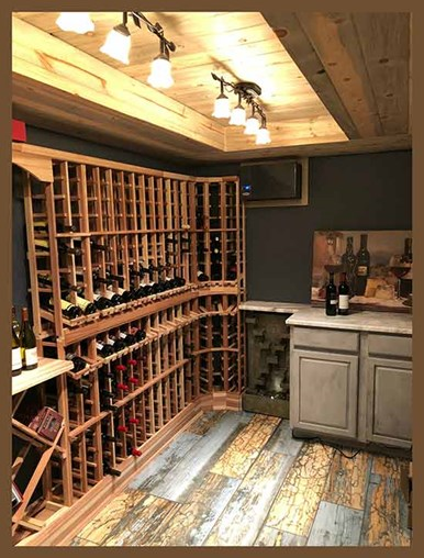 The completed wine cellar with double displays