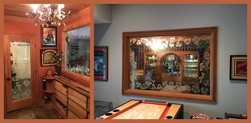 Etched glass door and painted glass mirror