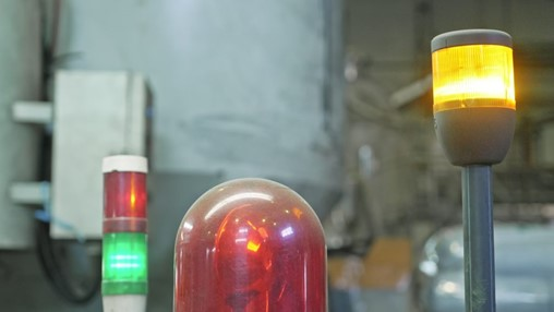 Warning light on production line turning red