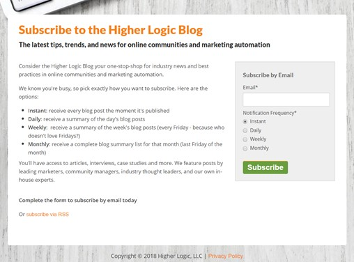 HigherLogicBlogSubscription