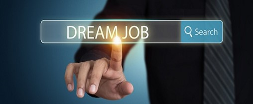 Businessman search for dream job and push