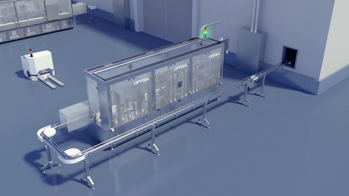 Robots exchange modules for filling different products.
