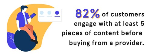 STATS - 06 - 82 percent of customers engage with at least 5 pieces of content before buying from a provider-01