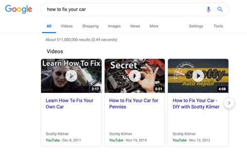 Screenshot of Google search results for 'how to fix your car'