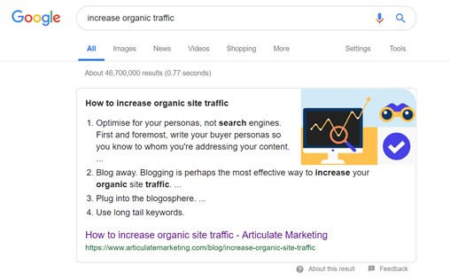 benchmark my blog data analysis for a successful blog Articulate organic site traffic snippet