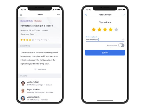 Ratings and reviews in your mobile event app can help you find speakers that resonate with you audience.