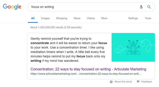 benchmark my blog data analysis for a successful blog Articulate focus on writing snippet