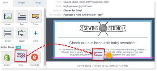 Drag and drop WooCommerce Action Block