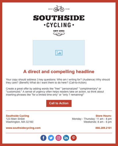 A branded email template for Southside Cycling
