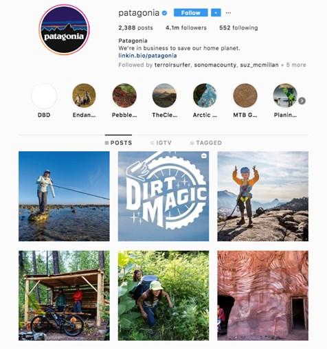 Patagonia's Instagram account