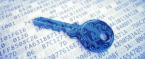 A low angle view on a blue digital key made to resemble a circuit and placed on a surface with encrypted text.