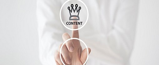 Content is king concept on touch screen.